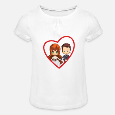 Wedding chibi heart - Girls' Ruffle T-Shirt