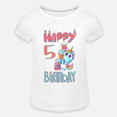Cake Unicorn Birthday for Girls | 5 years - Girls' Ruffle T-Shirt