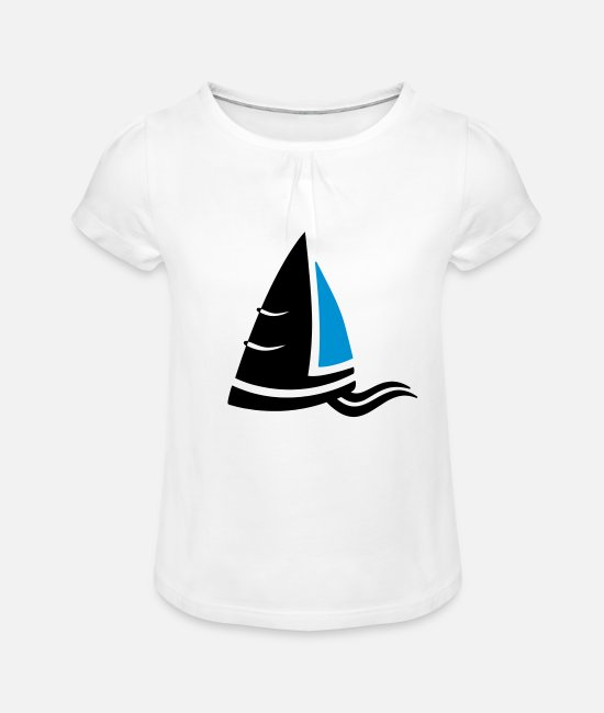 Sail Boat T-Shirts - Sea air sailboat logo colored - Girls' Ruffle T-Shirt white