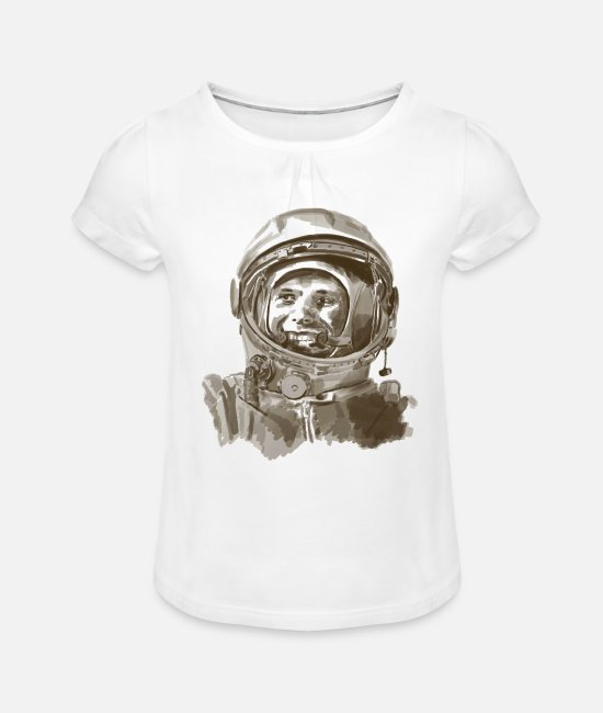 Space T-Shirts - kosmonaut - Girls' Ruffle T-Shirt white