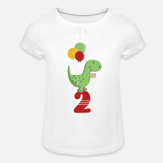 Birthday T-Shirts - Second Birthday Boy T Rex Dinosaur - Girls' Ruffle T-Shirt white