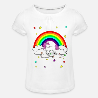 Unicorn Rainbow Gift for kids - Girls' Ruffle T-Shirt