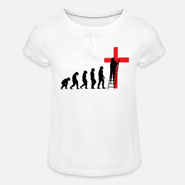 Evolution Jesus Cross Christ Team Chemises Eglise - T-shirt à fronces Fille