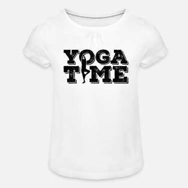 Yoga Time Fitness Gym Workout - T-shirt med rynkning flicka