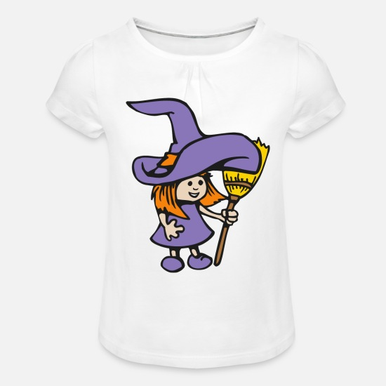 Witches Broom T-Shirts - Witch witch witch broom gift - Girls' Ruffle T-Shirt white