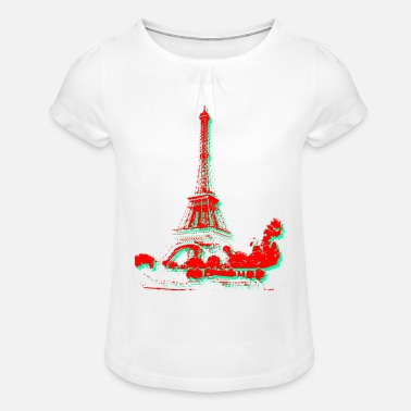 Souvenir Tour Eiffel Paris (2 coul) - T-shirt à fronces Fille