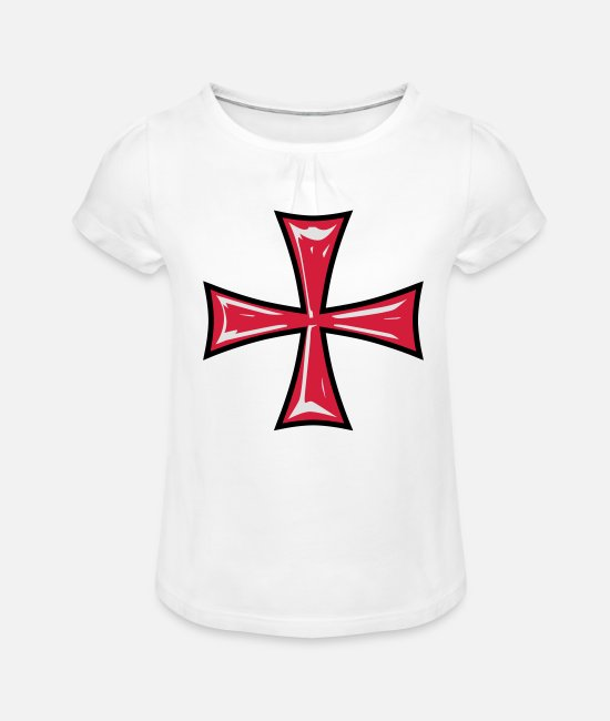 Knight's Cross T-Shirts - 01 Templer Kreuz Cross 3c - Girls' Ruffle T-Shirt white