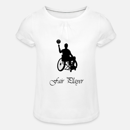 Wheelchair T-Shirts - Fair Player - Girls' Ruffle T-Shirt white