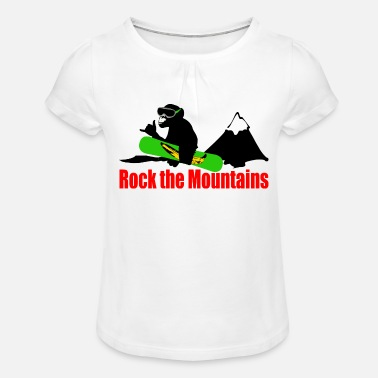 Boarder rock the mountains - Mädchen T-Shirt mit Raffung