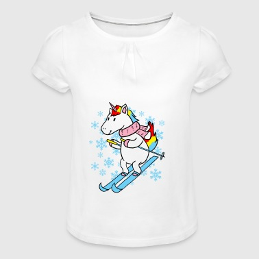 Unicorn ski gift - Girl's T-shirt with Ruffles