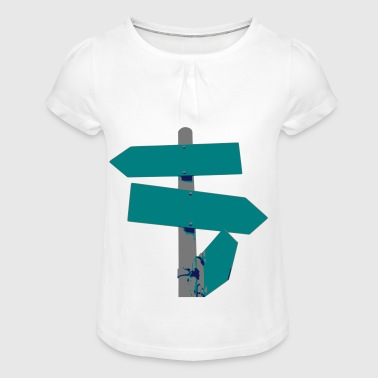 Road sign signpost multicolored blank gift - Girl's T-shirt with Ruffles