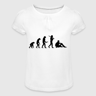 sitting man evolution progress development - Girl's T-shirt with Ruffles
