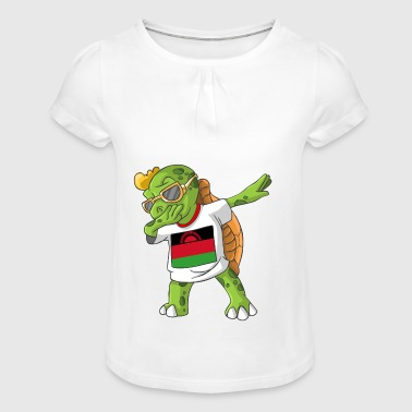 Malawi Dabbing turtle - Girl's T-shirt with Ruffles