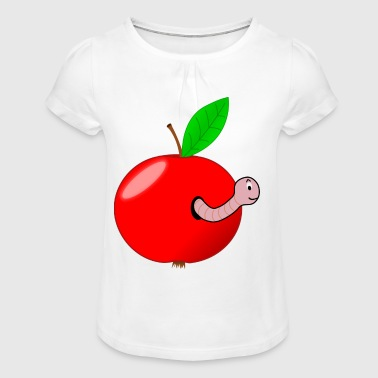 Apple with worm wormhole gift gift idea - Girl's T-shirt with Ruffles