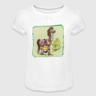 Thelwell - Rider is falling down - Girl's T-shirt with Ruffles