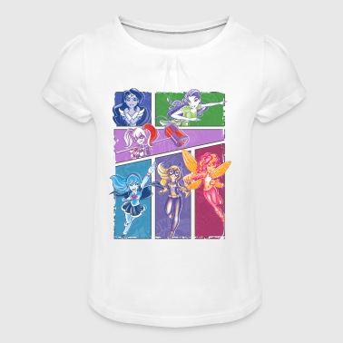DC Super Hero Girls Collage Of Heroines - T-shirt med rynkning flicka