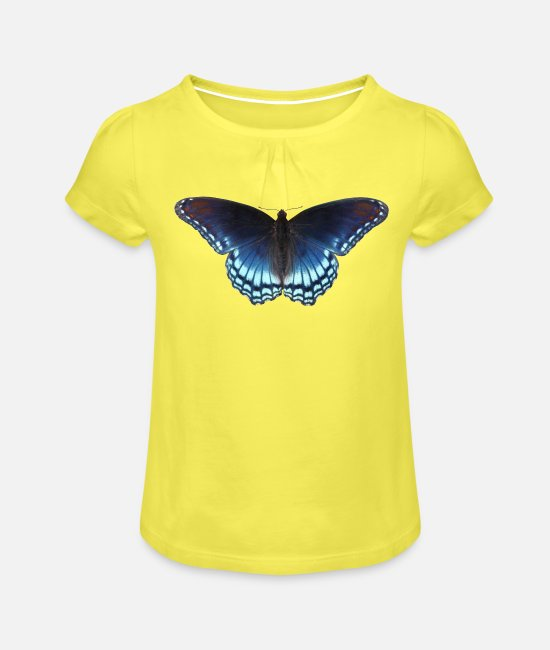 Nature T-Shirts - Butterfly in blue with great gradient - Girls' Ruffle T-Shirt yellow