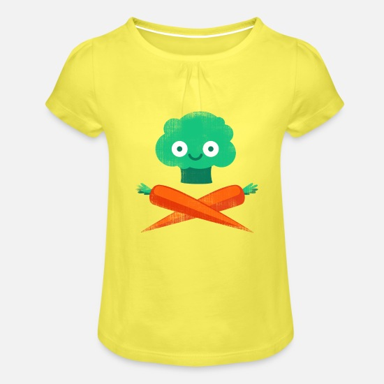 Veggies T-Shirts - Veggie Pirate - Girls' Ruffle T-Shirt yellow