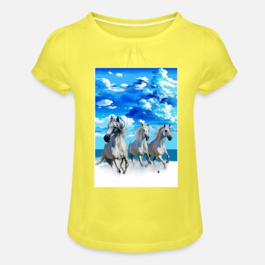 Jimi running Horses - Girls' Ruffle T-Shirt
