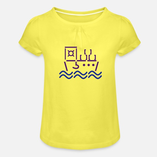 Container T-Shirts - ascii freighter / ascii Containerschiff (2c) - Girls' Ruffle T-Shirt yellow