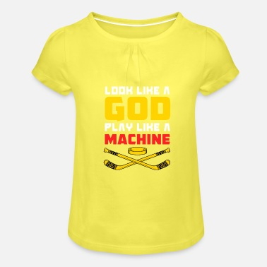Hockey player hockey field hockey - Girls' Ruffle T-Shirt