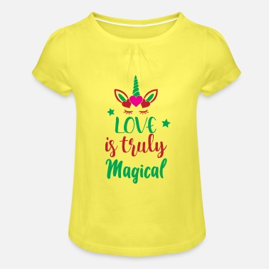 Super Woman Unicorn Quotes: Love Is Truly Magical - Girls' Ruffle T-Shirt