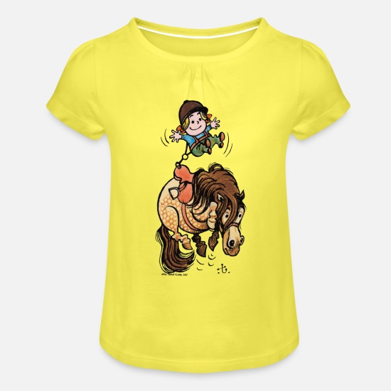 Officialbrands T-Shirts - Thelwell Funny Illustration Bucking Horse - Girls' Ruffle T-Shirt yellow