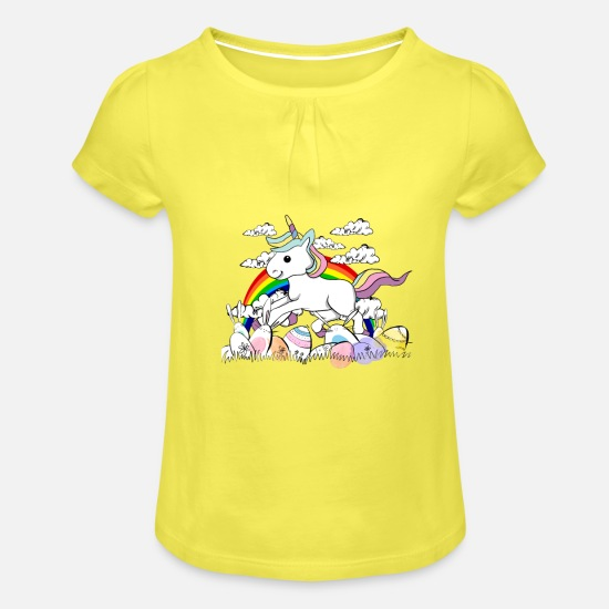 Easter Bunny T-Shirts - Unicorn easter bunny Easter eggs - Girls' Ruffle T-Shirt yellow