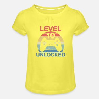 Unlocked Level 10 Unlocked Shirt 10th Birthday Shirt - Girls' Ruffle T-Shirt