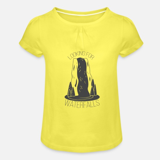 Explorer T-Shirts - Looking for Waterfalls - Mädchen T-Shirt mit Raffung Gelb