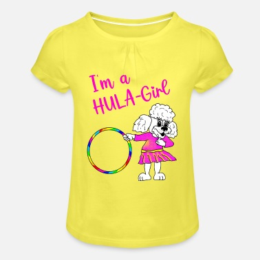 I'm a Hulahoop Girl - White Poodle Girl - Girls' Ruffle T-Shirt