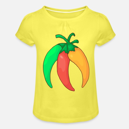 Red T-Shirts - Green red yellow chilli pepper hot pepper vegetables - Girls' Ruffle T-Shirt yellow