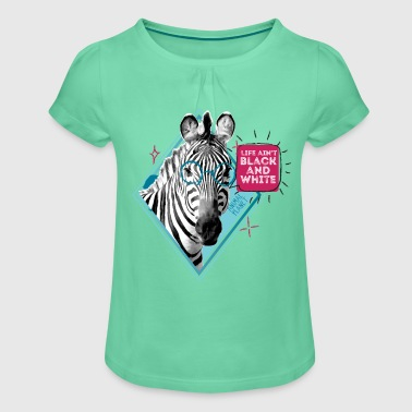 Animal Planet Zebra Black And White Quote - Girl's T-shirt with Ruffles