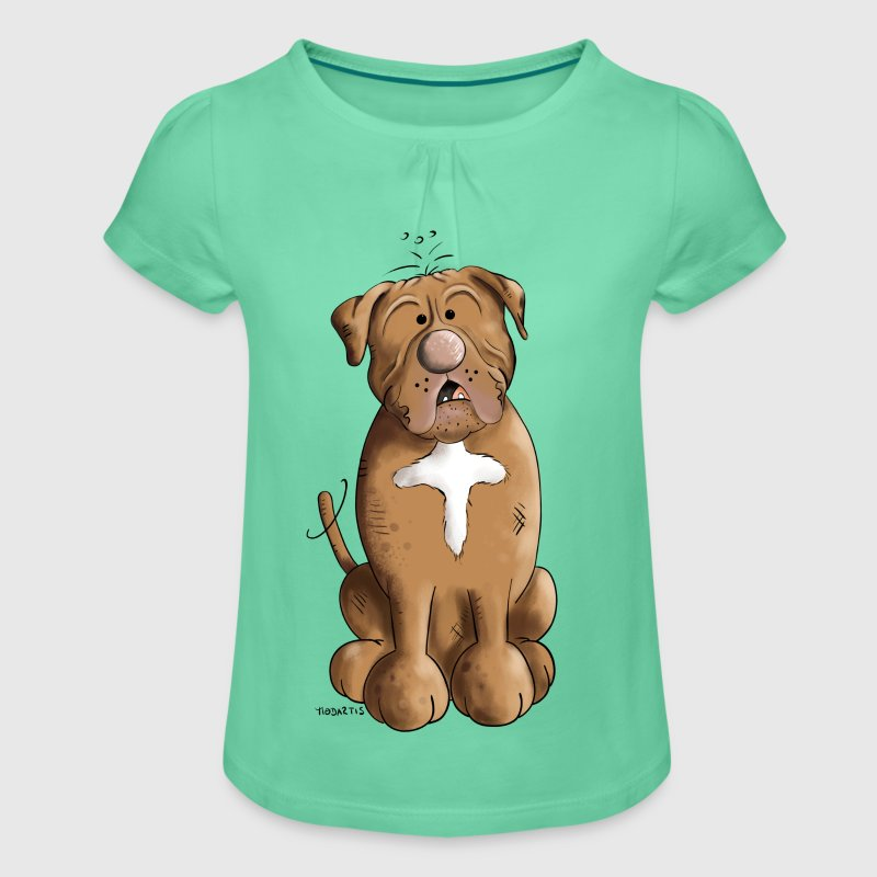 Dogue de Bordeaux - Girl's T-shirt with Ruffles