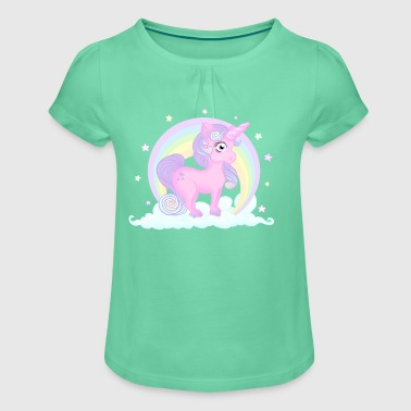 Pastel unicorn - T-shirt à fronces au col Fille