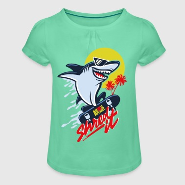 Animal Planet Humour Cool Skateboarding Shark - Girl's T-shirt with Ruffles