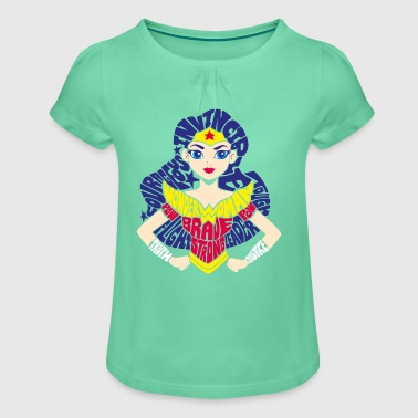 DC Super Hero Girls Wonder Woman Typography - Meisjes-T-shirt met plooien