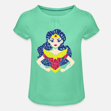 Wonder Woman DC Super Hero Girls Wonder Woman Typography - Meisjes-T-shirt met plooien