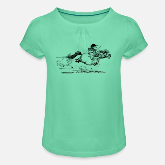 Collection For Kids T-Shirts - PonySprint Thelwell Cartoon - Girls' Ruffle T-Shirt mint