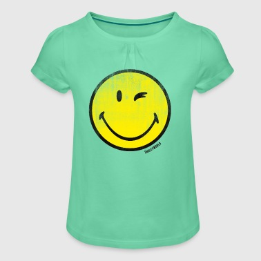 SmileyWorld Zwinkernder Smiley Used Look - Mädchen-T-Shirt mit Raffungen