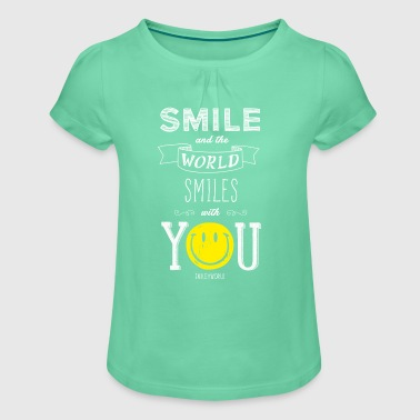 SmileyWorld Smile and the world smiles with you - Camiseta para niña con drapeado