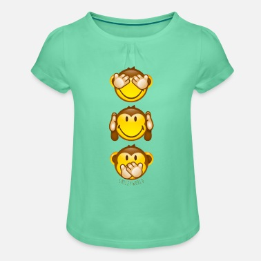 SmileyWorld Singes De La Sagesse - T-shirt à fronces au col Fille