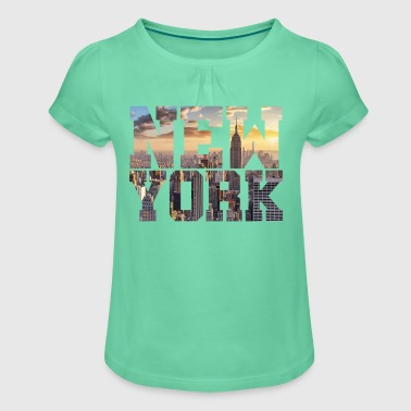 New York New York - Girl's T-Shirt with Ruffles