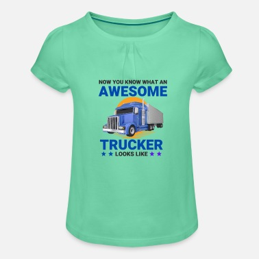 Awesome Trucker Big Rig semi-trailer - Girls' Ruffle T-Shirt