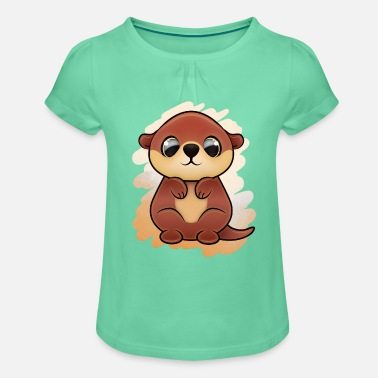 Otter (kawaii) - Girls' Ruffle T-Shirt