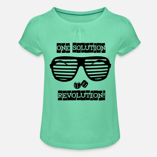 Rebellion T-Shirts - one solution revolution - Mädchen T-Shirt mit Raffung Mintgrün