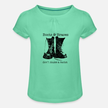 Skinhead Boots & Braces graphic - Skinhead design - - Girls' Ruffle T-Shirt