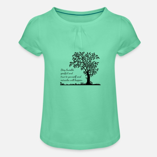 Forest T-Shirts - tree - Girls' Ruffle T-Shirt mint