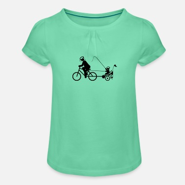 PAPA PULLS BICYCLE TRAILER WITH KIND BY SUBGIRL - Girls' Ruffle T-Shirt