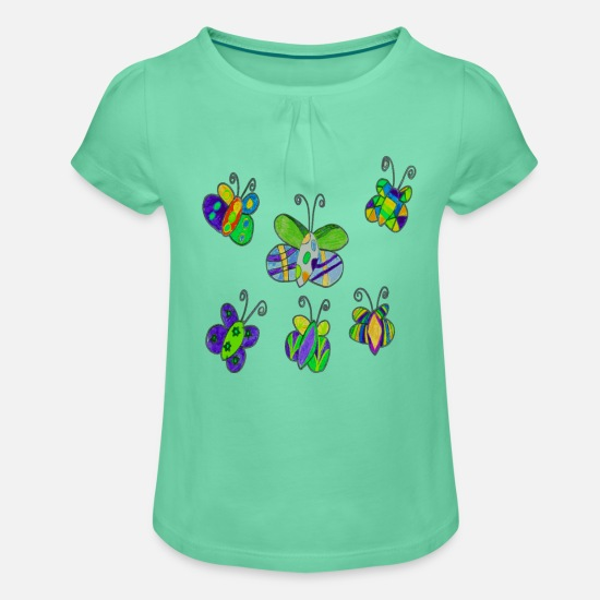 Love T-Shirts - Butterflies - butterfly - Girls' Ruffle T-Shirt mint